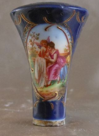 Great Antique Porcelain Cane Knob Handle With Cupid photo
