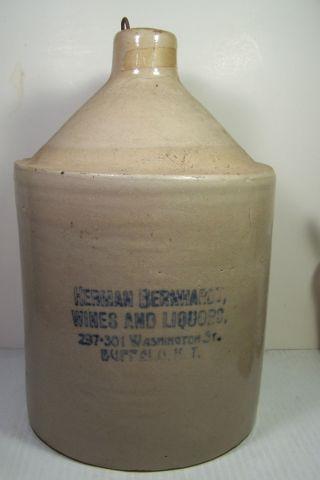 Herman Bernhardt Wines & Liquors Stoneware Jug - Buffalo,  Ny - Spigot Hole photo