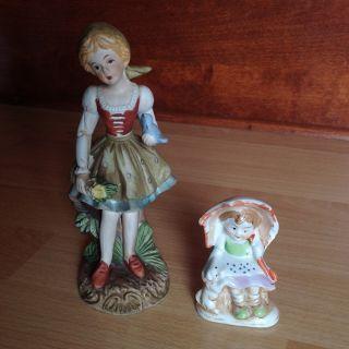 2 Girl Porcelain Figurines Umbrella Puppy Bird Flowers Antique & Vintage photo