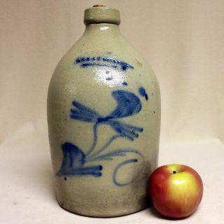 Antique Stoneware: Rare 1gal.  Jug W/ Cobalt Floral,  Ol & Ak Ballard,  Vt,  Ca.  1860 photo