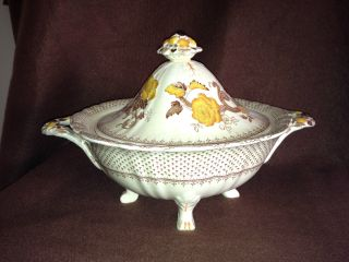 Antique 1813 Mason ' S English Ironstone Footed Soup Tureen Us Patent 91374 photo