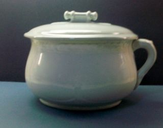 Antique Stone China Ironstone White Chamber Pot With Lid photo