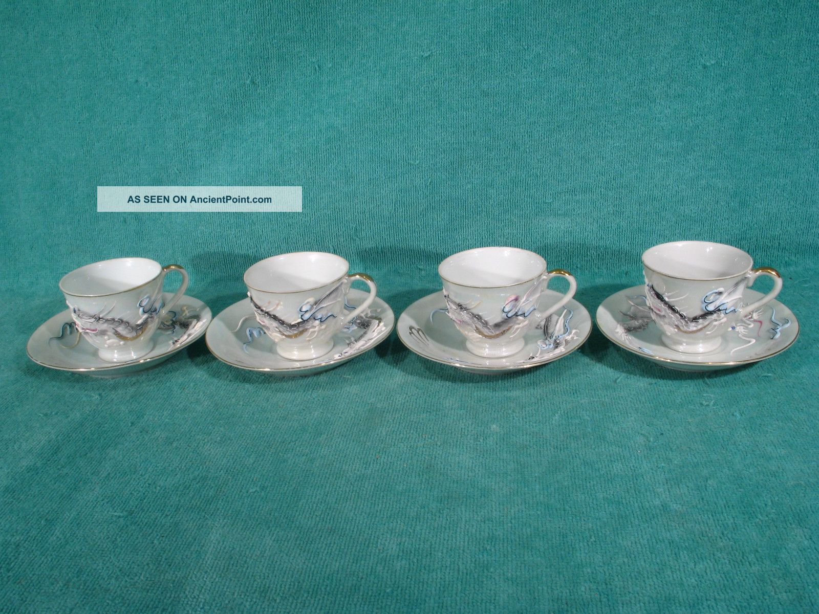 Betsons Handpainted Japan Dragon Ware Set Of 8 Tea Cups & Saucers Cups & Saucers photo