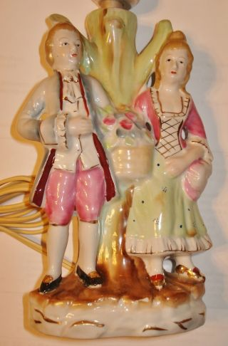 Antique Porcelain Figurine Lamp Marked Japan Collectible photo