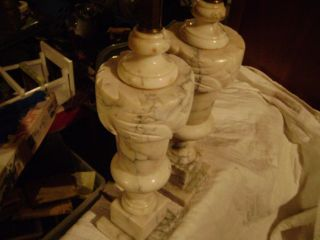 Antique Italian Carved Alabaster Parlor Table Lamp Vintage Marble Set 2 photo