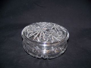 Vintage Cut Glass Round Covered Dresser Box photo