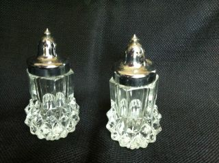 Tiara Vintage Cut Glass Crystal Unique Salt And Pepper Shaker Set photo