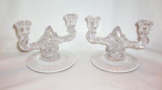 Vintage Pair New Martinsville Teardrop Double Light Candelabras photo