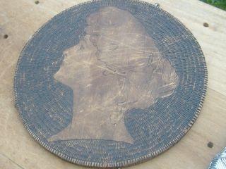 1905 Flemish Pyrography Folk Art Woman Wall Portrait Wood Burned Burnt Antique photo