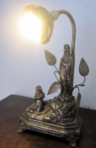 Antique French Bronze Catholic Desk Lamp Figurine Sculpture Art France Holy photo