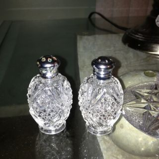 Vintage German Crystal Salt Pepper Shakers photo