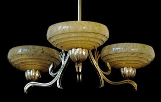 Impressive Heavy German Vintage Art Deco Ceiling Lamp,  Brass,  Fully Restored photo