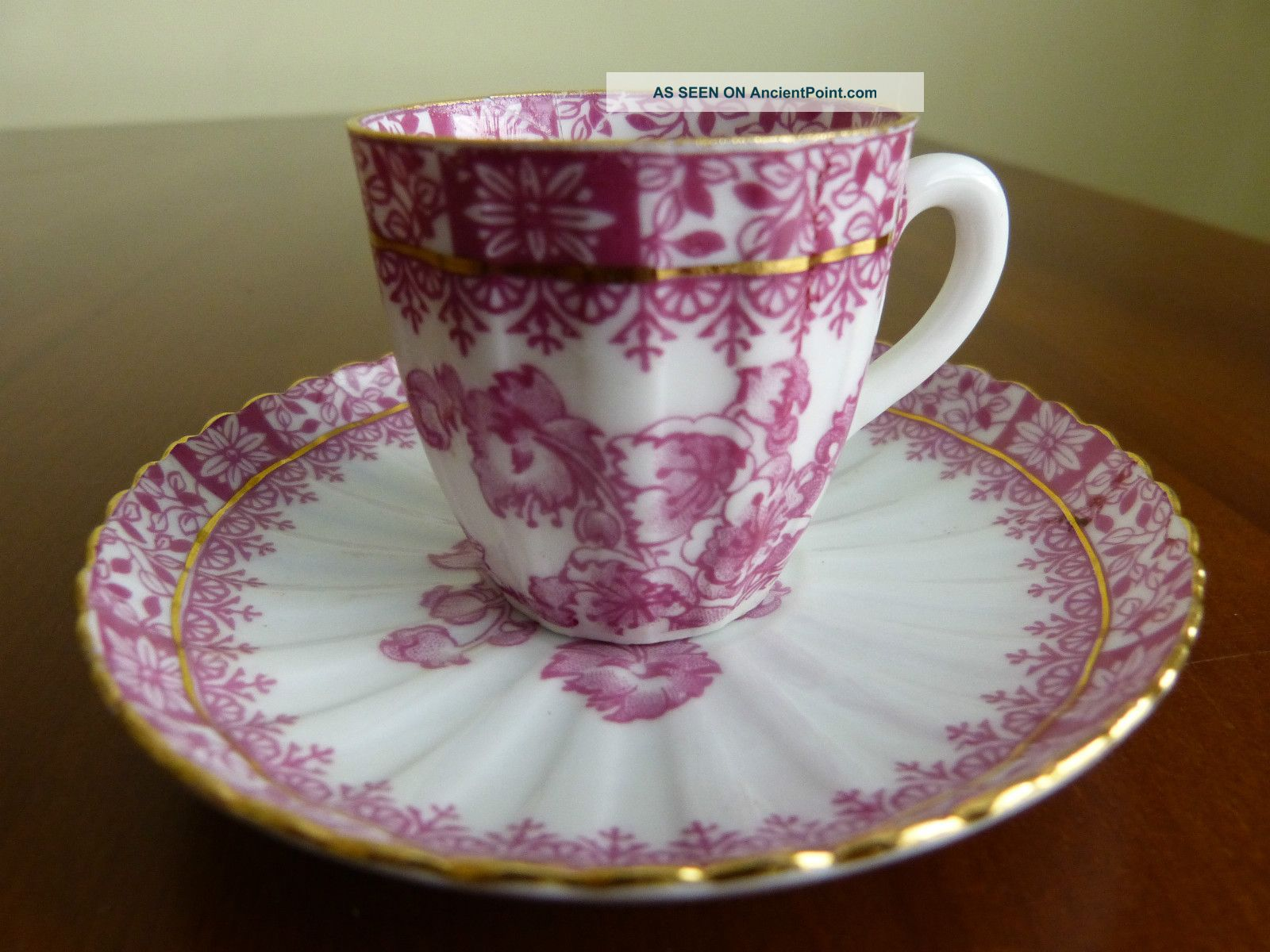 Tuppack Tiefenfurt,  Germany - Collectors Cup And Saucer Pink White Gold Cups & Saucers photo