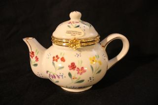 Vintage Ceramic Handpainted 10kt Gold Trimmed Floral Porcelain Hinged Lid Teapot photo