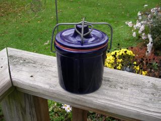 Vintage Cobalt/midnight Blue Butter Cheese Crock With Wire Bail Latch Lid photo