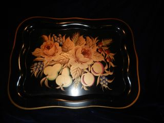 Antiques Decorative Arts Toleware Serving Tray photo