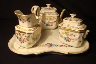 Antique Porcelain 6 Pc.  Handpainted Tea Set Tray,  Sugar,  Creamer,  Tea Pot 19 C. photo
