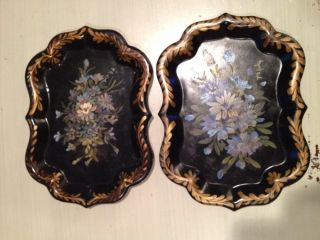 2 Small Antique Artist Signed Black Chippendale Gold Embellished Toleware Tray photo