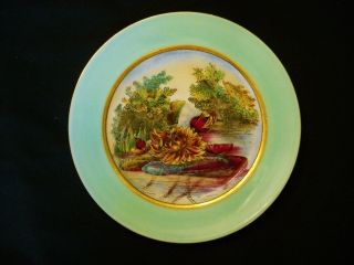 Antique Hand Painted Plate - Water Lilies - Gold Trim - Colors photo