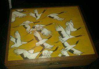 Antique Wood Handpainted Cranes/ Birds Cigar Box Palmas House Of Windsor Rare photo