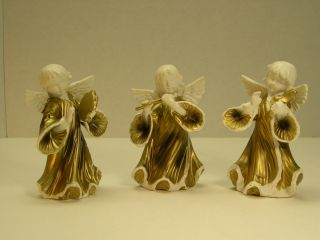 3 Lenwile Ardalt Artware Angels Japan Figurines Hand Painted Musicians Band photo