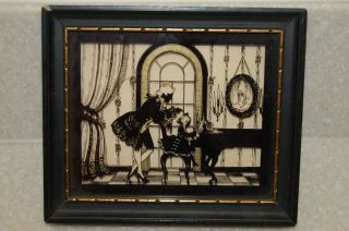 Vintage Reverse Painted Framed Richards Sillouette By W.  Novikoff - Music Lesson photo