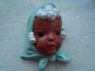 Vintage Retro Gorgeous Goldscheider Ceramic Wall Mask Young Girl Maedchenkopf photo