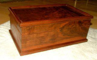 Vtg Vanity Cedar - Walnut Jewelry/trinket/keepsake/ladies Glove Dresser Hinged Box photo