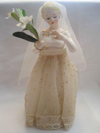 Vintage Made In Japan Blonde Bride In Dress Figurine Bridal / Wedding Gift photo