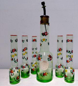 Antique Ajka Glass Liqueur Cordial Decanter Glasses Green Depression Long - Neck photo
