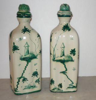 Pair Of Signed Cantagalli Italian Majolica Stoppered Bottles Green White Glaze photo