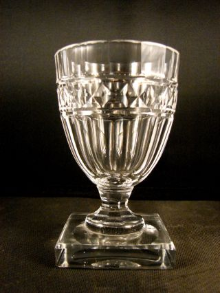 19th C Blown And Cut Wine Glass With Square Foot photo