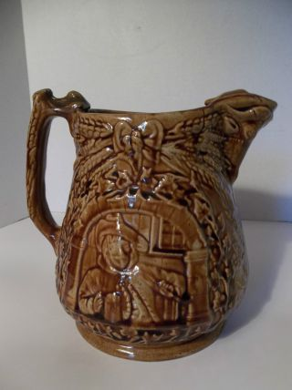 Antique Vintage Yellow Ware Stoneware Large Pitcher Ornate Bull Wheat Leaves photo
