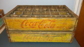 2 Vintage 69 56 Old Coke Coca Cola Wood Wooden Soda Pop Bottle Crate Crates Case photo