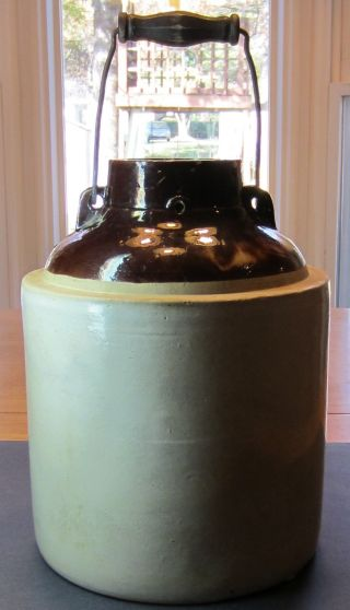 Antique Rare Large Crock With Wire / Wood / Wooden Bale Handle photo