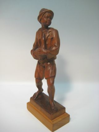 Mint Vintage Hand Wood Unpainted Carved Figurine Of Boy Holding A Duck photo