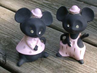Vint Retro Mice Salt & Pepper Ceramic Collectibles Boy &girl Mouse W Diamond Eye photo