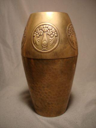 Wmf Art Deco Brass Vase Wurttemberg German photo
