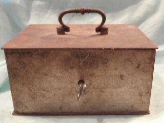 Antique Heavy Metal Lock Box W/ Key photo
