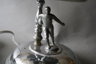 Antique Vintage 1930 ' S 1940 ' S Figural Trophy Like Football Player Lamp photo
