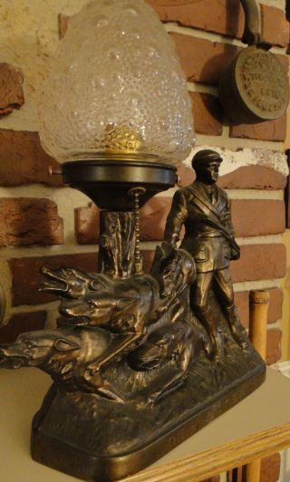 Art Deco Period Bronze Desk Table Lamp The Hunter photo