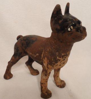 Rare Cast Iron Hubley Boston Terrier Door Stop Antique Doorstop Statue Dog photo
