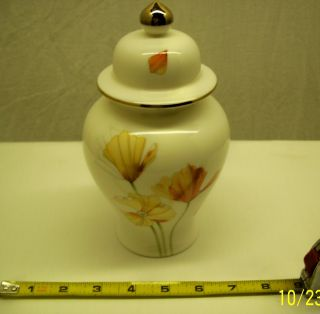 Japanese Ginger Jar/urn - Porcelain - By Fiona Stokes - - Poppies photo