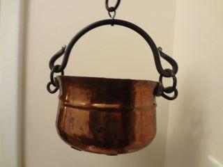 Antique Handmade Primitive Hanging Copper Cast Iron Cooking Pot - - Dovetail photo