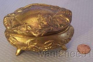 Antique Art Nouveau Holly Leaf & Berry Jewelry Casket Gilt Metal Hinged Box Xmas photo