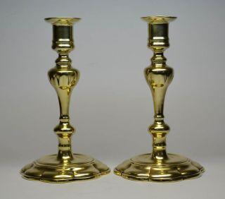 Wonderful Pair Of 18th Century Brass Candlesticks,  Petal Based / Lob Based photo