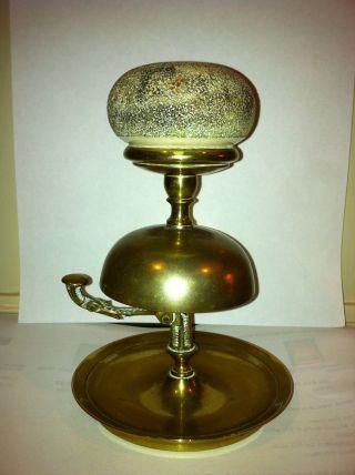 Rare 19c Brass Counter Bell Matchstriker Holder photo