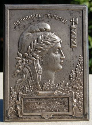 Antique French Award Plaque 1914 Tabletop Display Large photo