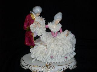 Antique German Porcelain Karl Klette Dresden Lace Victorian Couple Figurine photo