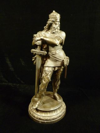 19th Century Spelter Warrior King Statue With Wonderful Patina photo